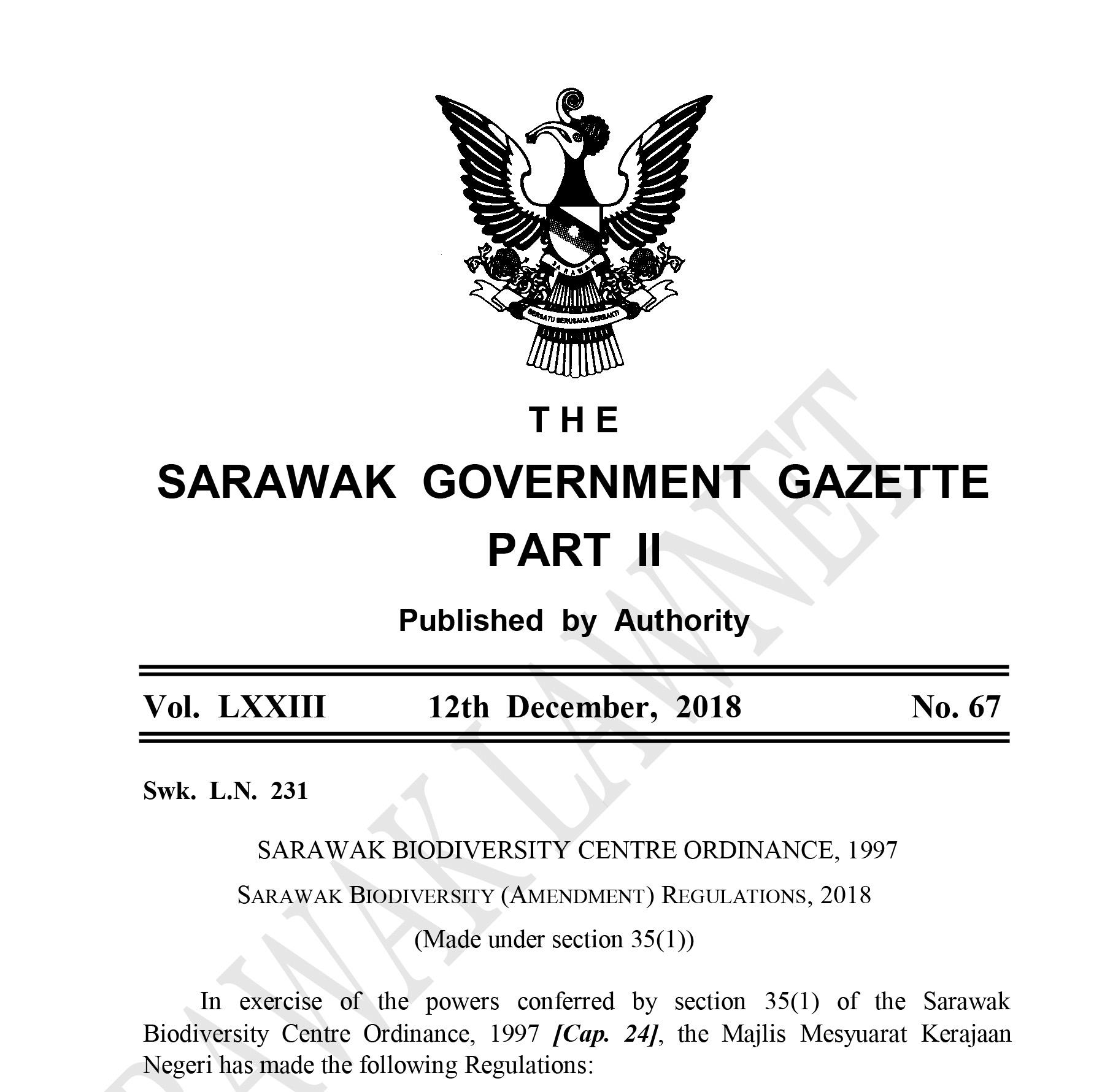 Sarawak Biodiversity Regulations (Amendment) 2018