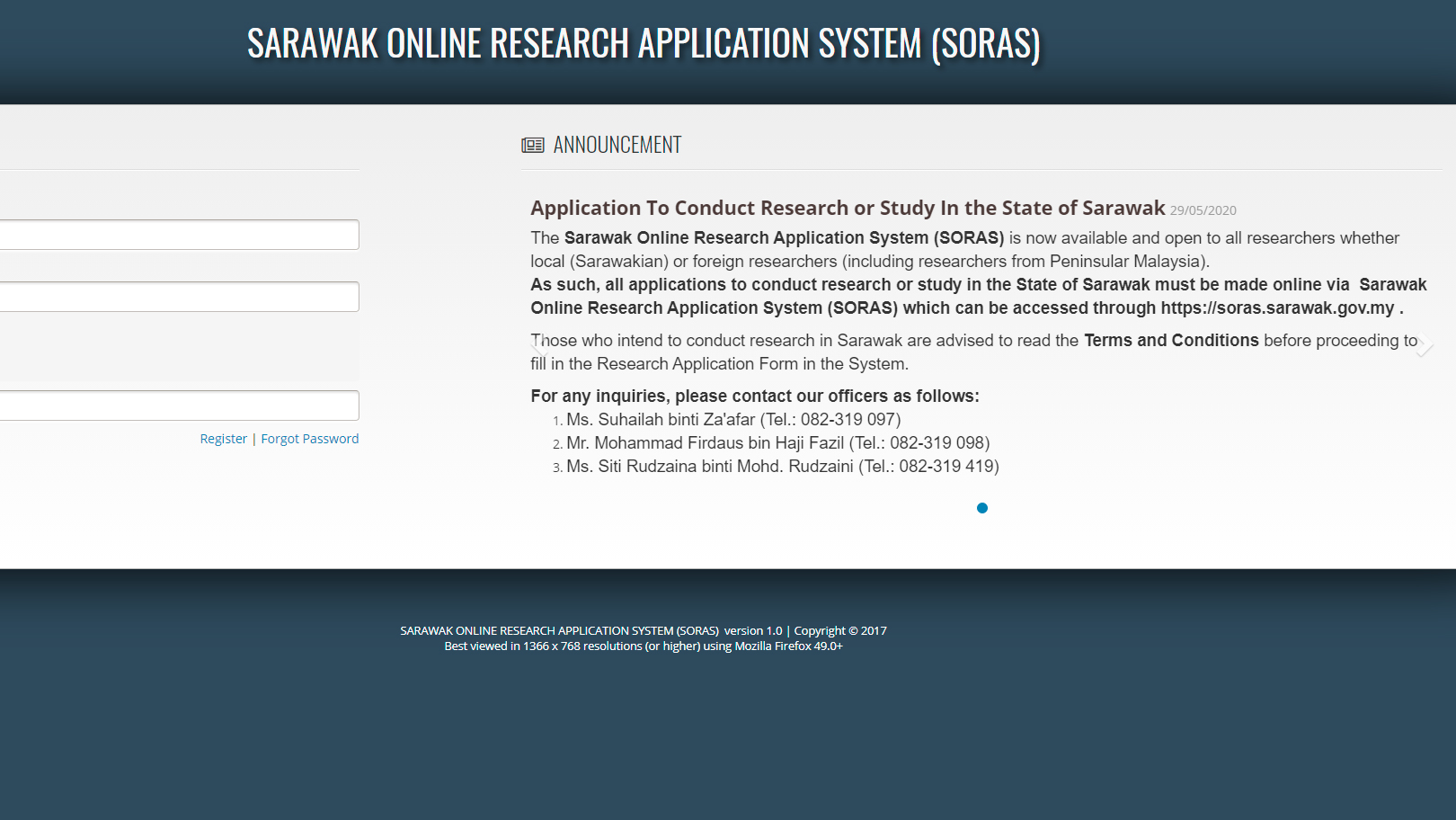 Sarawak Online Research Application System (SORAS)